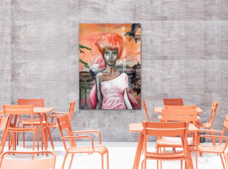 Kunstwerke für Unternehmen - kreatives Portraitbild für die Mensa