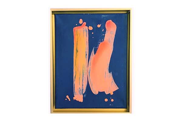 Beispiel für Kunstwerke für Unternehmen - orange Figur auf blauem Grund