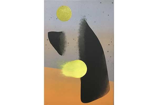 Grau oranges Wandbild abstrakt mit schwarz und gold