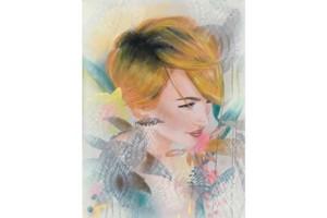 Wandbild junge Frau floral dekorativ hipster