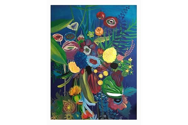 florales handgemaltes Wandbild blauer Grund bunt und expressiv