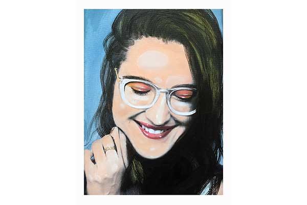 Pop Art Style Portrait-Wandbild Warhole like zeigt lächelnde Frau mit Brille